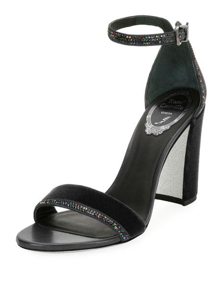 Rene Caovilla Crystal-Trim Velvet Chunky-Heel Sandal, Gray