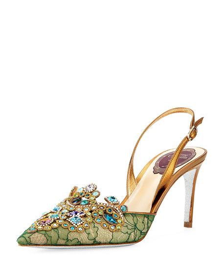 Rene Caovilla Crystal-Beaded Lace Halter Pump, Green