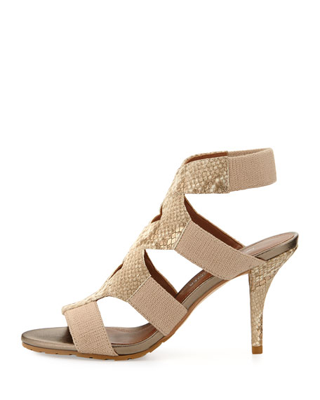 Gwen Stretch Ankle Sandal, Bronze