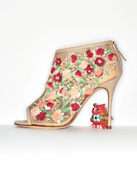 Clizia Mesh Floral Peep-Toe Bootie, Nude