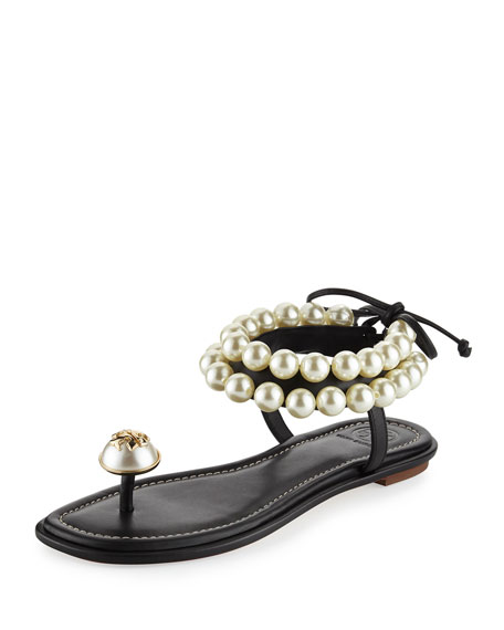 Tory Burch Melody Pearly Ankle-Wrap Flat Sandal, Black