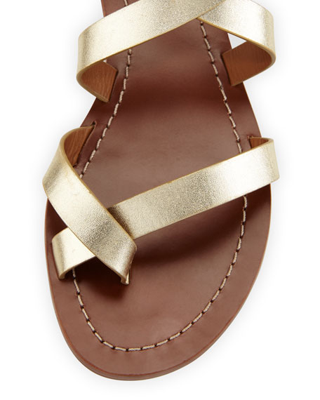 Patos Crisscross Flat Gladiator Sandal, Gold