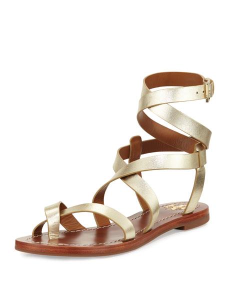 Tory Burch Patos Crisscross Flat Gladiator Sandal, Gold