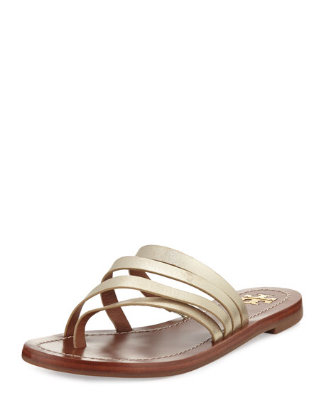 Patos Flat Thong Sandal Slide, Gold