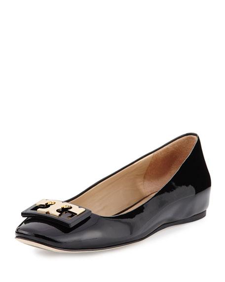 Gigi Patent Ballerina Flat, Black