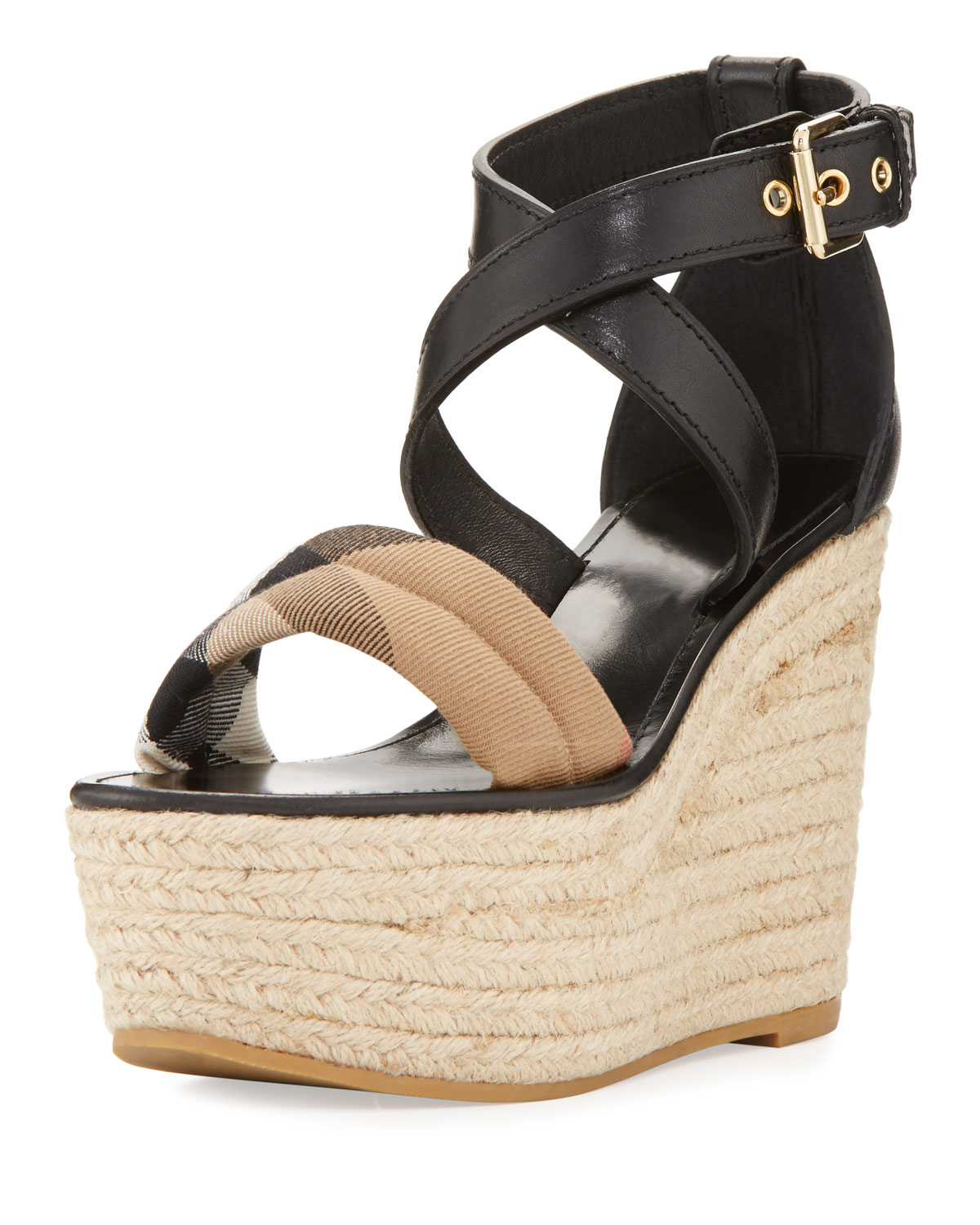 7bad5d6949b3 Burberry Arkinson Check Leather Wedge Sandal