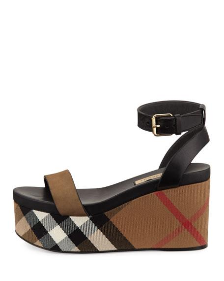 Nuneaton Check Wedge Sandal, Dark Heather Melange