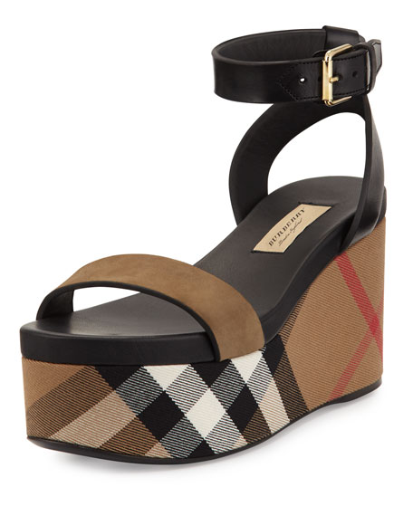 Nuneaton Check Wedge Sandal, Dark Heather Melange