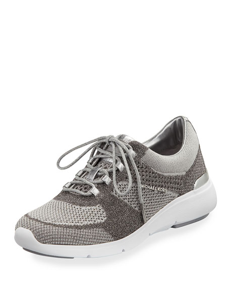 MICHAEL Michael Kors Skyler Knit Lace-Up Trainer, White/Silver