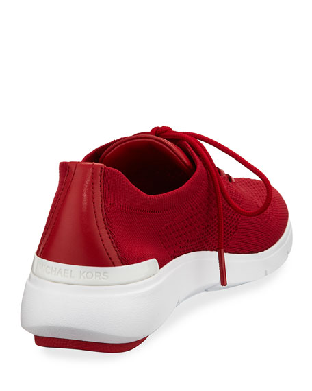 MICHAEL Michael Kors Skyler Knit Lace-Up Trainer, Red