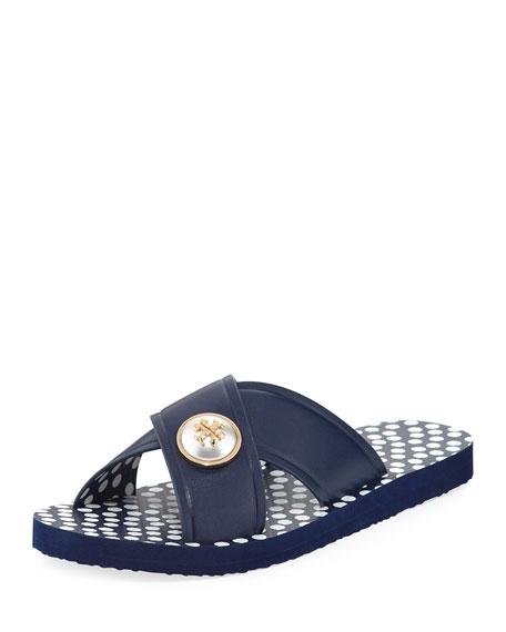 Tory Burch Melody Polka-Dot Flat Slide Sandal, White/Blue