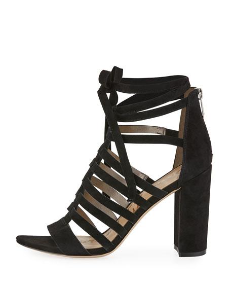 Yarina Caged Suede Sandal, Black