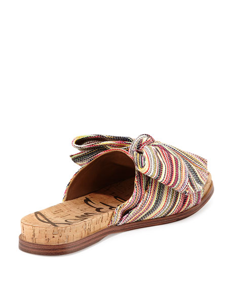 Henna Striped Fabric Flat Cork Sandal, Bright Multi