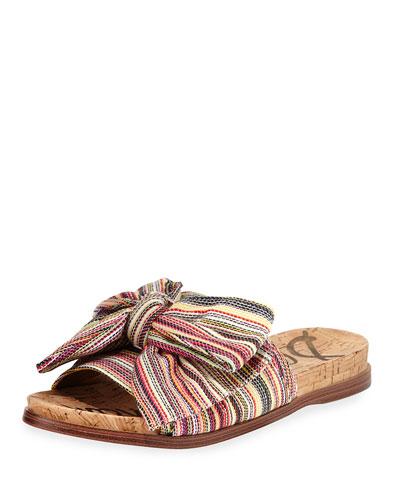 Henna Striped Fabric Flat Cork Sandal, Bright Multi