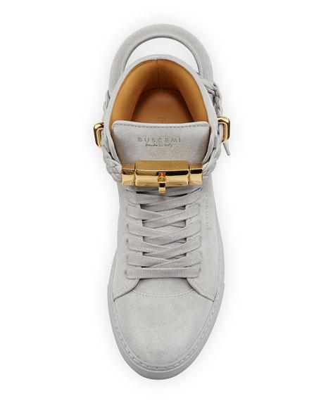 100mm Turn-Lock Braided High-Top Sneaker, Gray