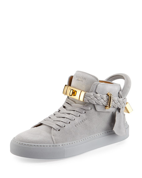 Buscemi 100mm Turn-Lock Braided High-Top Sneaker, Gray