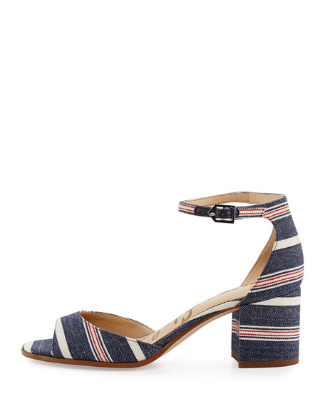 Susie Striped Denim City Sandal, Blue/Multi