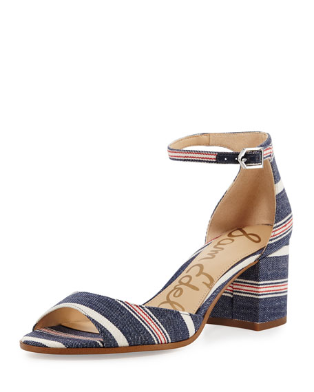 Sam Edelman Susie Striped Denim City Sandal, Blue/Multi