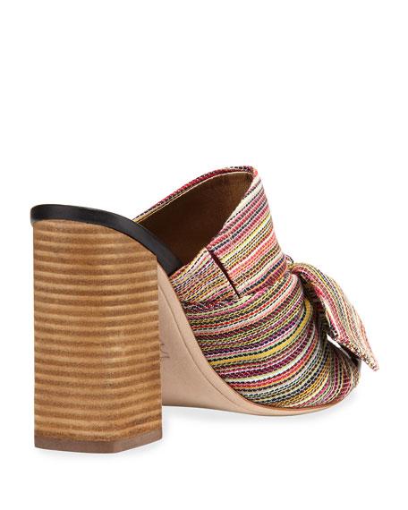 Yumi Woven Stripe Heeled Mule Sandal, Bright Multi