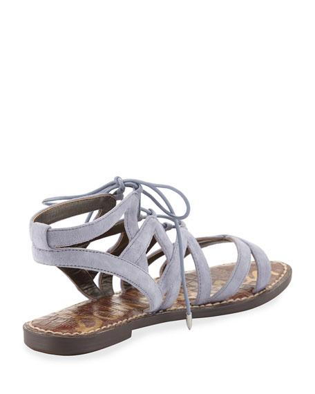 Gemma Suede Flat Cutout Sandal, Dusty Blue