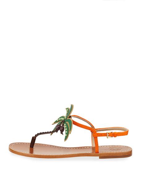 Castaway Palm Tree Flat Sandal, Tangerine
