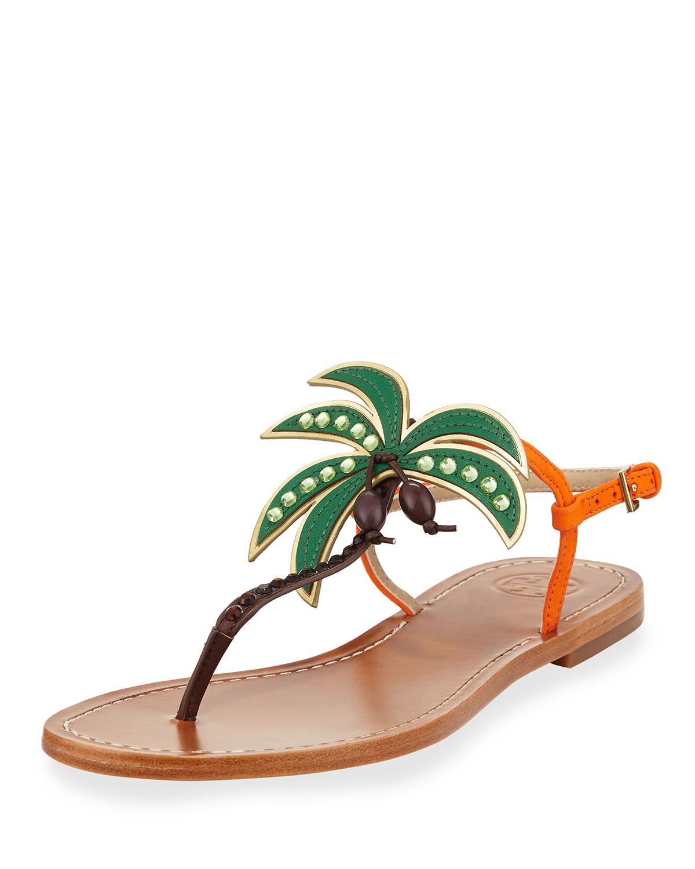 a1acce78606172 Tory Burch Castaway Palm Tree Flat Sandal