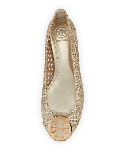 Pasadena Woven Ballerina Flat, Gold
