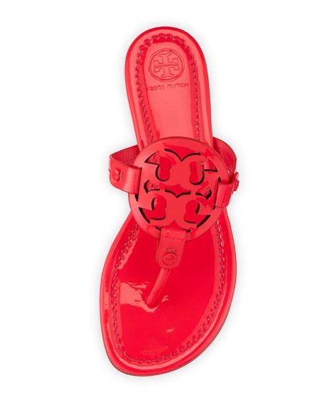Miller Medallion Leather Flat Sandal, Fuchsia