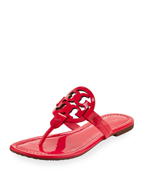 Tory Burch Miller Medallion Leather Flat Sandal, Fuchsia