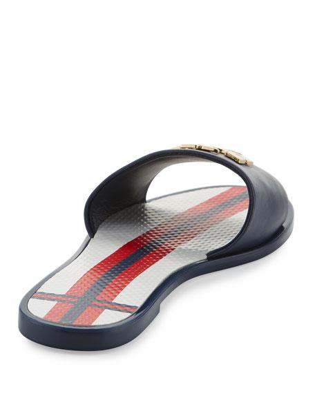 Logo Jelly Flat Slide Sandal, Navy