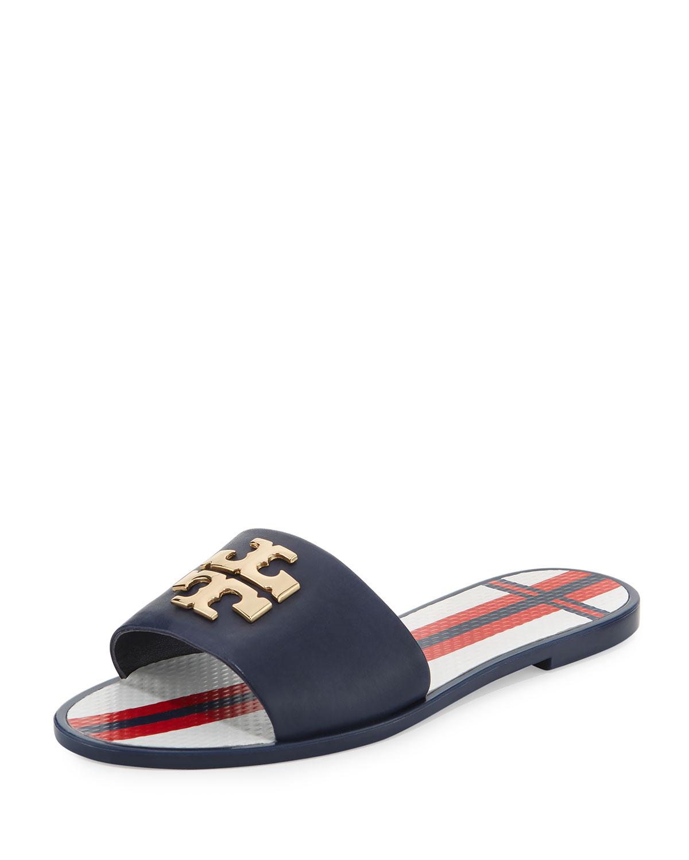 7c0e077dacec58 Tory Burch Logo Jelly Flat Slide Sandal