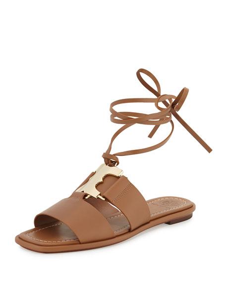 Tory Burch Gemini Ankle-Wrap Flat Link Sandal, Tan