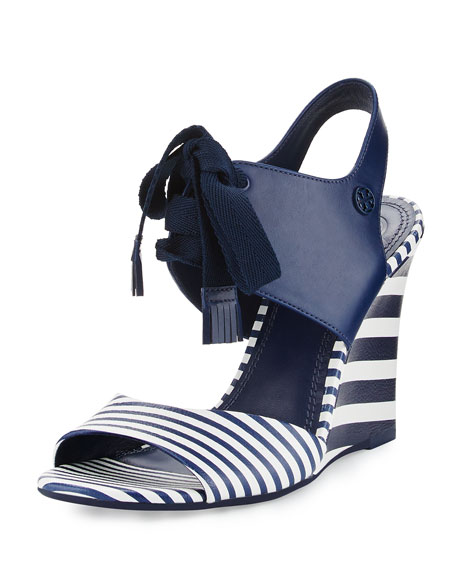 Tory Burch Maritime Striped Wedge Sandal, Blue/White