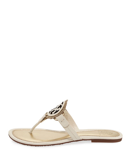 Miller Fringe Flat Thong Sandal, Gold