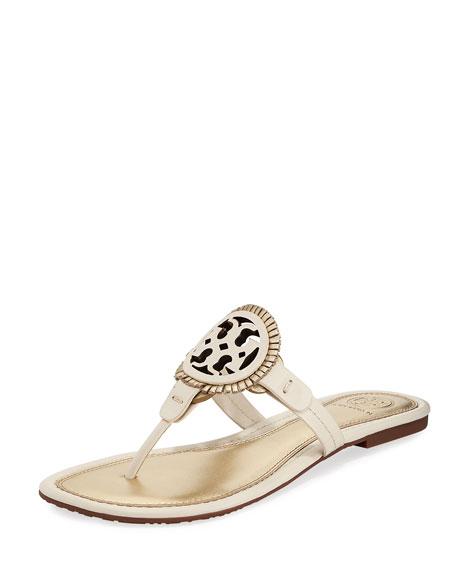 Tory Burch Miller Fringe Flat Thong Sandal, Gold