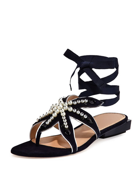 Tory Burch Seashore Star Ankle-Wrap Flat Sandal, Navy