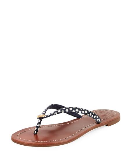 Terra Polka-Dot Flat Thong Sandal, Gold