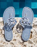 Miller Striped Flat Thong Sandal, Blue