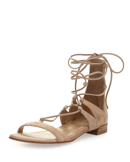 Tie-Up Suede Flat Gladiator Sandal, Beach