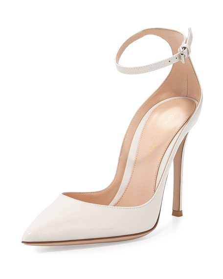 Patent Low-Collar Ankle-Wrap Pump, Off White