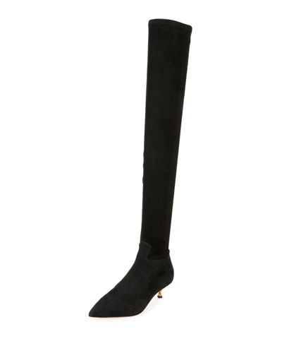 Valentino Garavani Over-the-Knee Stretch-Suede Boot