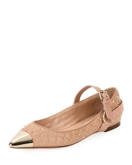 Valentino Garavani Cap-Toe Studded Ballerina Flat, Poudre
