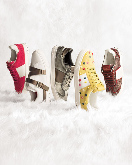 Colorblock Strappy Low-Top Sneaker, White/Platino