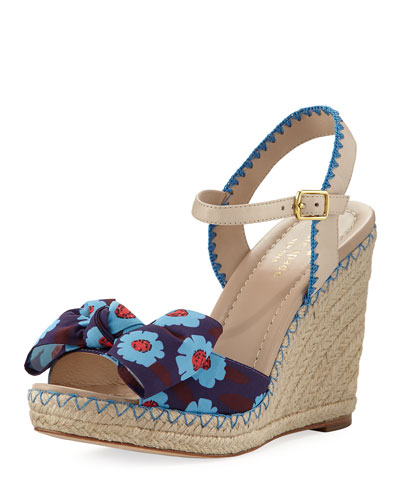 jane floral wedge espadrille sandal, blue