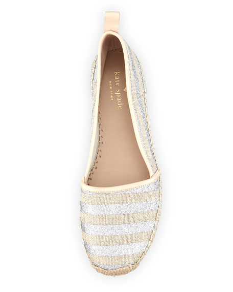 lilliad slip-on striped espadrille flat, silver
