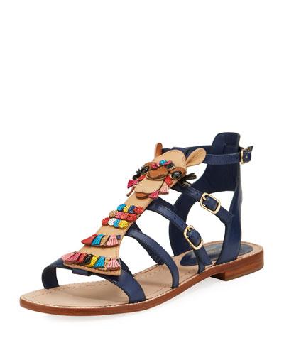 sahara embellished flat gladiator sandal, navy