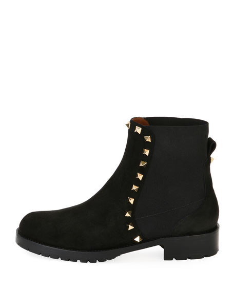 Suede Studded Combat Ankle Boots, Black