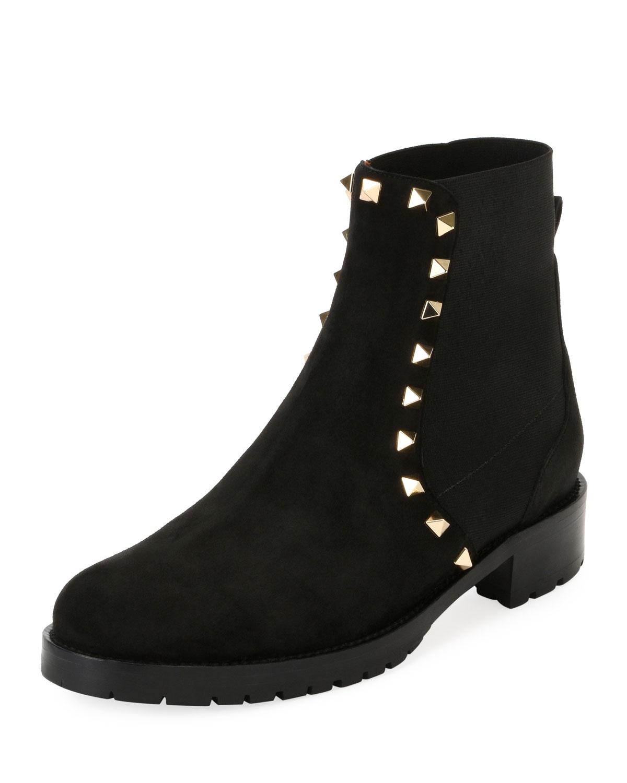 Studded Black Neiman Valentino Boots Ankle Combat Suede Garavani qaSA6