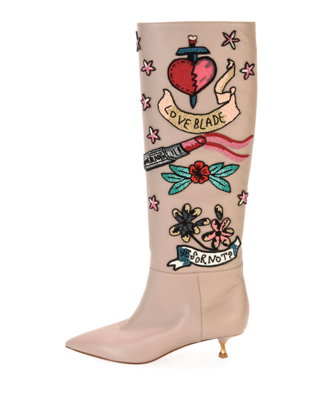 Loveblade Twist-Heel Embellished Knee Boot, Poudre