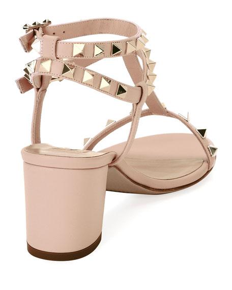 Rockstud Leather Low-Heel Sandal, Nude